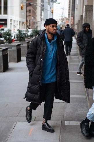 How to wear: black dress pants, black crew-neck t-shirt, blue zip neck sweater, black puffer coat