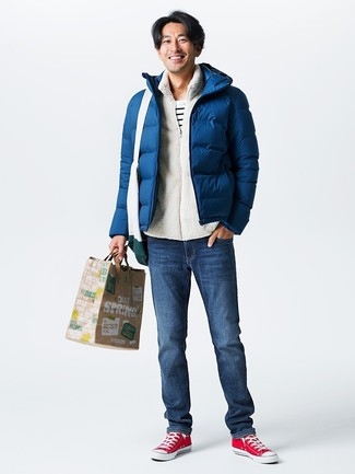 How to wear: navy jeans, white and black horizontal striped crew-neck t-shirt, white fluffy zip sweater, navy puffer jacket