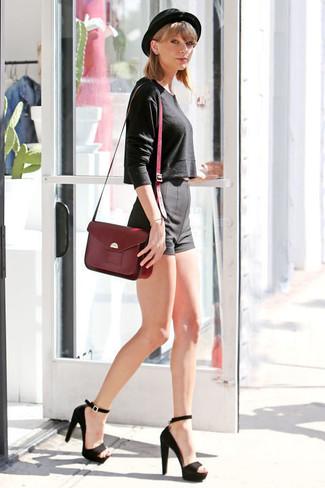 Taylor Swift wearing Black Cropped Sweater, Black Shorts, Black Suede Heeled Sandals, Burgundy Leather Satchel Bag