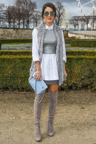 How to wear: grey mini skirt, grey knit cropped top, white dress shirt, grey fur vest