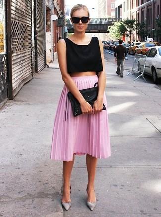 Hot Pink Pleated Midi Skirt | Women's Fashion