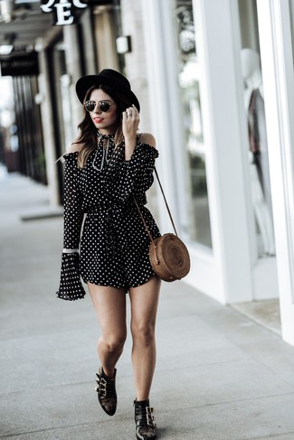 How to wear: black wool hat, brown straw crossbody bag, black studded leather ankle boots, black and white polka dot playsuit