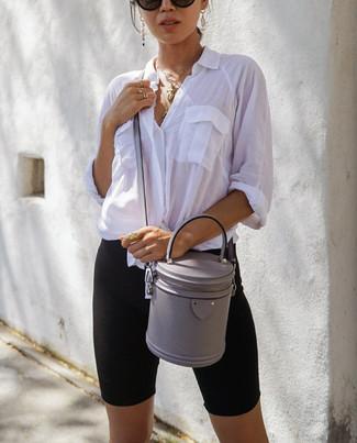 How to wear: black sunglasses, grey leather crossbody bag, black bike shorts, white dress shirt