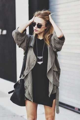 How to wear: black necklace, black leather crossbody bag, black bodycon dress, olive anorak