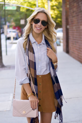 How to wear: navy check scarf, beige quilted leather crossbody bag, brown suede button skirt, light blue dress shirt