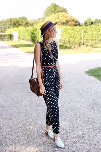 How to wear: brown straw hat, dark brown leather crossbody bag, white leather flat sandals, black and white polka dot jumpsuit