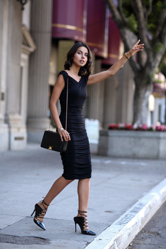 How to wear: silver bracelet, black leather crossbody bag, black leather gladiator sandals, black bodycon dress