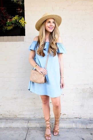 How to wear: beige straw hat, beige leather crossbody bag, tan suede gladiator sandals, light blue denim off shoulder top