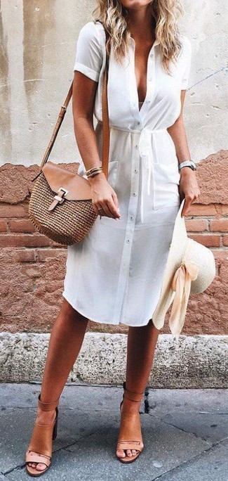 How to wear: beige straw hat, brown straw crossbody bag, tan leather heeled sandals, white shirtdress