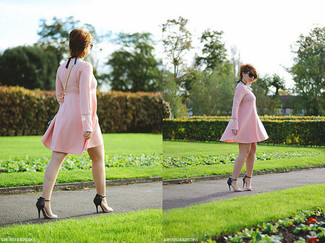 How to wear: black sunglasses, light blue leather crossbody bag, black and tan leather heeled sandals, pink swing dress