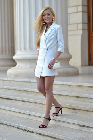 How to wear: gold bracelet, white leather crossbody bag, black suede heeled sandals, white tuxedo dress