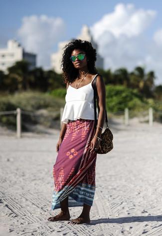 How to wear: green sunglasses, brown leopard suede crossbody bag, burgundy print maxi skirt, white ruffle tank