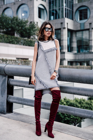 How to wear: black sunglasses, black leather crossbody bag, burgundy velvet over the knee boots, grey tweed shift dress