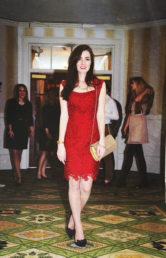 How to wear: gold necklace, gold leather crossbody bag, black suede pumps, red lace sheath dress