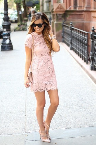 How to wear: black sunglasses, pink leather crossbody bag, beige leather pumps, pink lace shift dress
