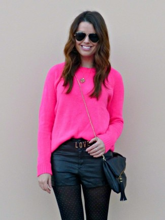 How to wear: black sunglasses, black leather crossbody bag, black leather shorts, hot pink crew-neck sweater