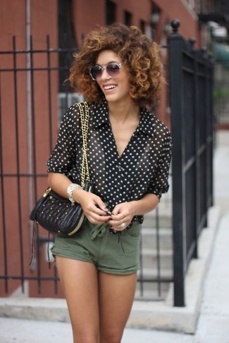 How to wear: grey sunglasses, black quilted leather crossbody bag, olive shorts, black and white polka dot chiffon dress shirt