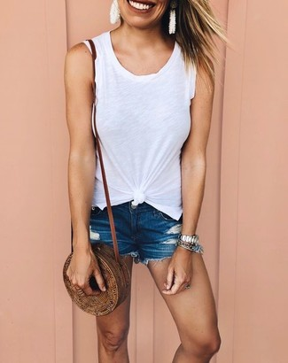 How to wear: silver watch, brown straw crossbody bag, navy denim shorts, white tank