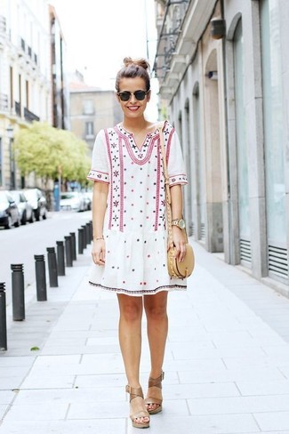 How to wear: black sunglasses, beige leather crossbody bag, tan leather wedge sandals, white embroidered peasant dress