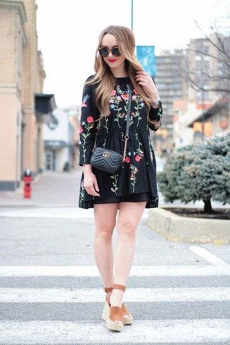 How to wear: black sunglasses, black quilted leather crossbody bag, brown suede wedge sandals, black embroidered peasant dress