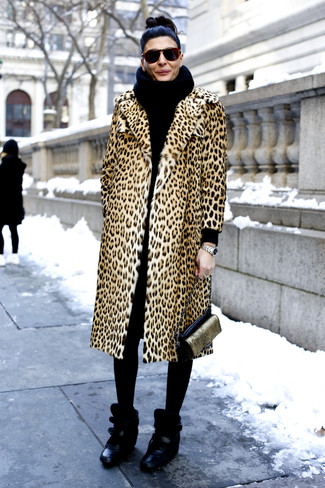 How to wear: black knit scarf, black and gold leather crossbody bag, black leather wedge sneakers, tan leopard fur coat