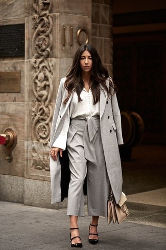 How to wear: black suede pumps, grey culottes, white button down blouse, grey coat