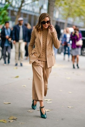 How to wear: dark green leather pumps, tan culottes, tan cable sweater, tan sleeveless blazer