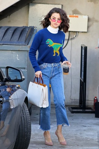 How to wear: pink suede pumps, blue denim culottes, blue print crew-neck sweater, white turtleneck
