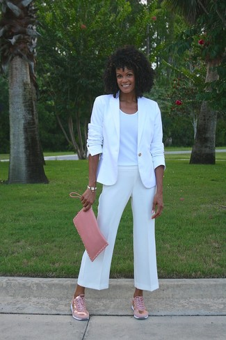 How to wear: pink low top sneakers, white culottes, white crew-neck t-shirt, white blazer