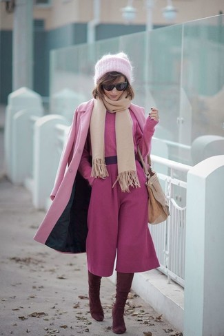 How to wear: burgundy suede over the knee boots, hot pink culottes, hot pink cropped sweater, pink coat