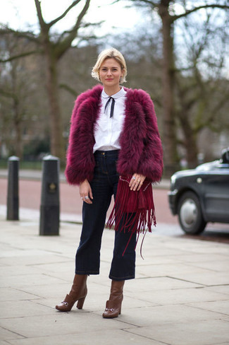 How to Wear Navy Denim Culottes: For an outfit that's super easy but can be manipulated in a multitude of different ways, pair a purple fur jacket with navy denim culottes. Take your ensemble down a classier path with a pair of brown leather ankle boots.