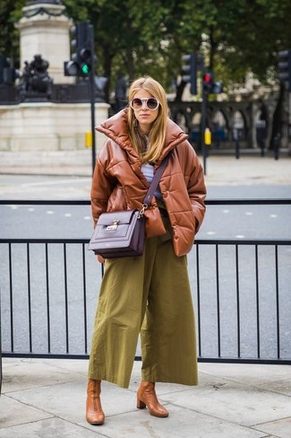 How to wear: tan leather ankle boots, olive culottes, white henley shirt, tobacco leather puffer jacket