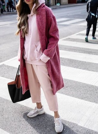 How to wear: grey athletic shoes, pink culottes, pink hoodie, red coat