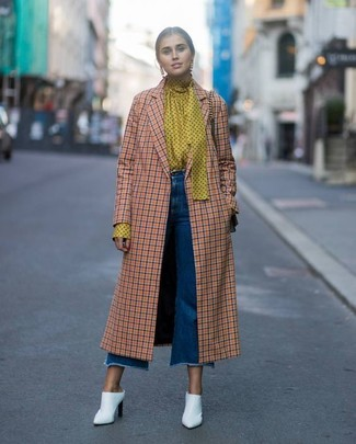 How to wear: white leather mules, blue denim culottes, yellow polka dot long sleeve blouse, orange check coat