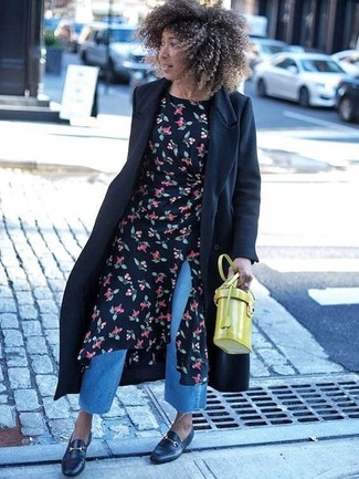 How to wear: black leather loafers, blue denim culottes, black floral midi dress, black coat