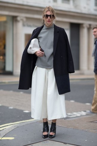 How to wear: black cutout leather ankle boots, white culottes, grey check short sleeve blouse, black coat
