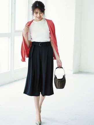 How to wear: grey leather pumps, black culottes, white short sleeve sweater, red cardigan