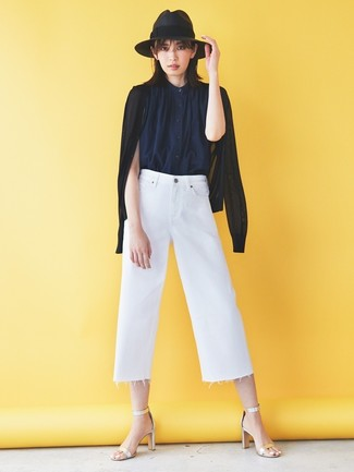 How to wear: silver leather heeled sandals, white denim culottes, navy sleeveless button down shirt, black cardigan