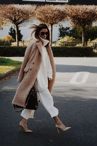 How to wear: tan leather pumps, white culottes, white knit wool turtleneck, camel fleece coat