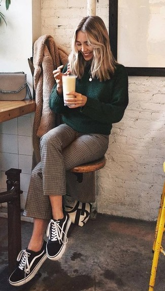How to wear: black and white canvas low top sneakers, brown check culottes, dark green turtleneck, tan fur coat