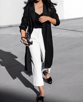 How to wear: black suede flat sandals, white culottes, black v-neck t-shirt, black duster coat