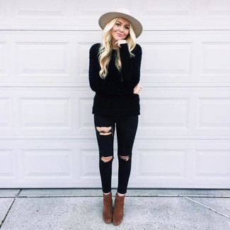 How to wear: beige wool hat, dark brown suede ankle boots, black ripped skinny jeans, black fluffy crew-neck sweater