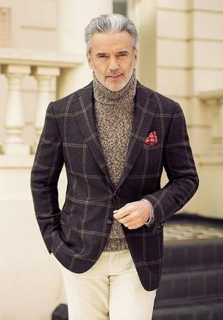 How to wear: dark brown check wool blazer, brown knit turtleneck, beige chinos, red print pocket square