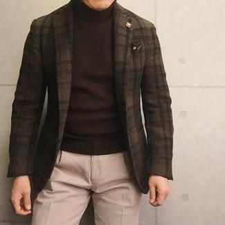 How to wear: dark brown check wool blazer, dark brown turtleneck, beige wool dress pants, dark brown print pocket square