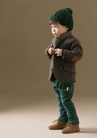How to wear: dark brown blazer, dark green trousers, tan suede desert boots, dark green beanie
