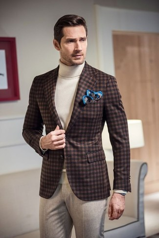 How to wear: dark brown gingham wool blazer, white turtleneck, beige wool dress pants, blue print pocket square