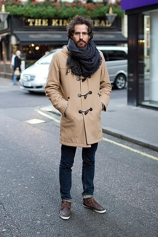 How to wear: navy plaid scarf, dark brown leather boat shoes, navy skinny jeans, camel duffle coat