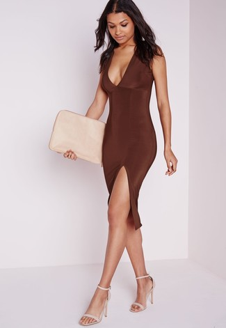 Women's Dark Brown Bodycon Dress, Beige Leather Heeled Sandals, Beige Leather Clutch