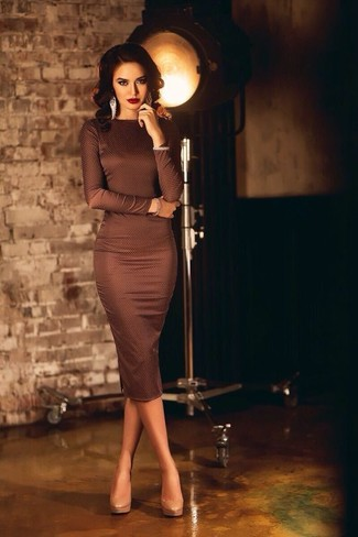 Women's Dark Brown Bodycon Dress, Beige Leather Pumps, Silver Earrings
