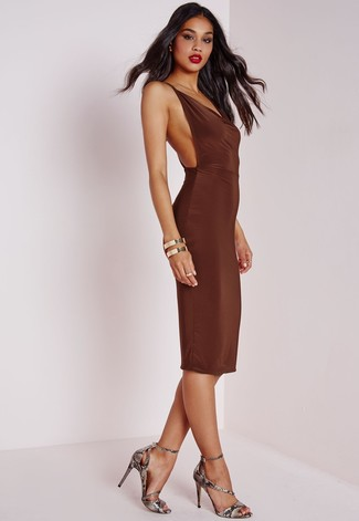 Women's Dark Brown Bodycon Dress, Grey Snake Leather Heeled Sandals, Gold Bracelet